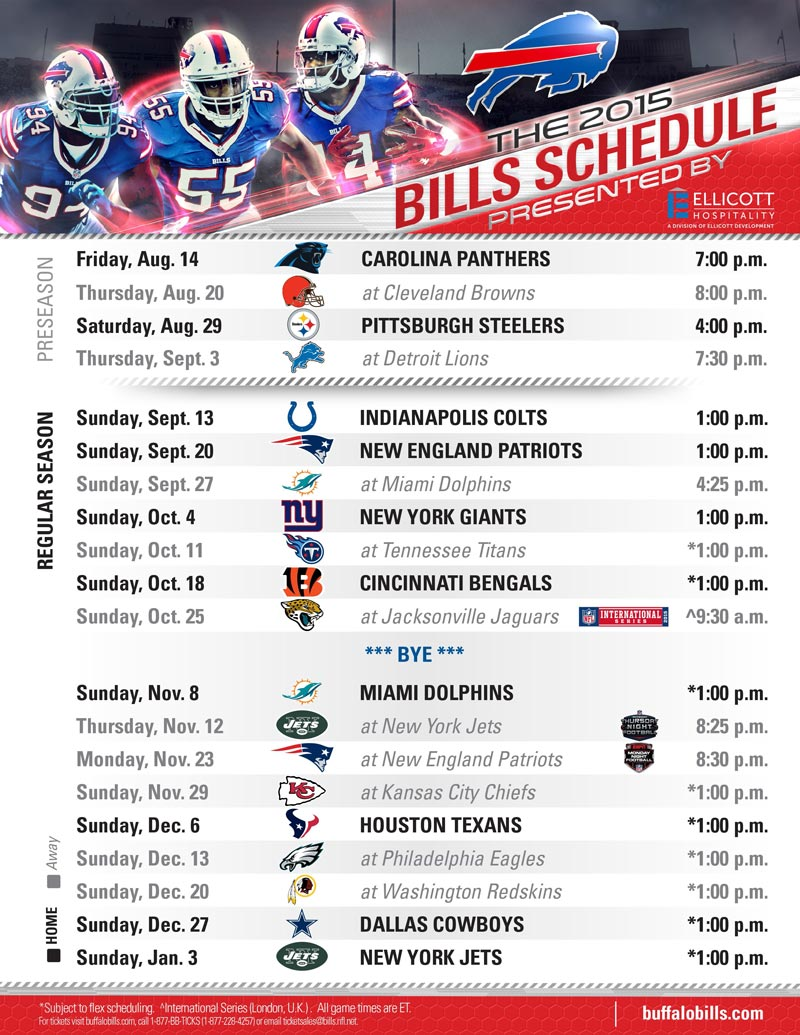 photo regarding Buffalo Bills Printable Schedule named Buffalo Expenses 2015 Agenda Offered by means of Ellicott